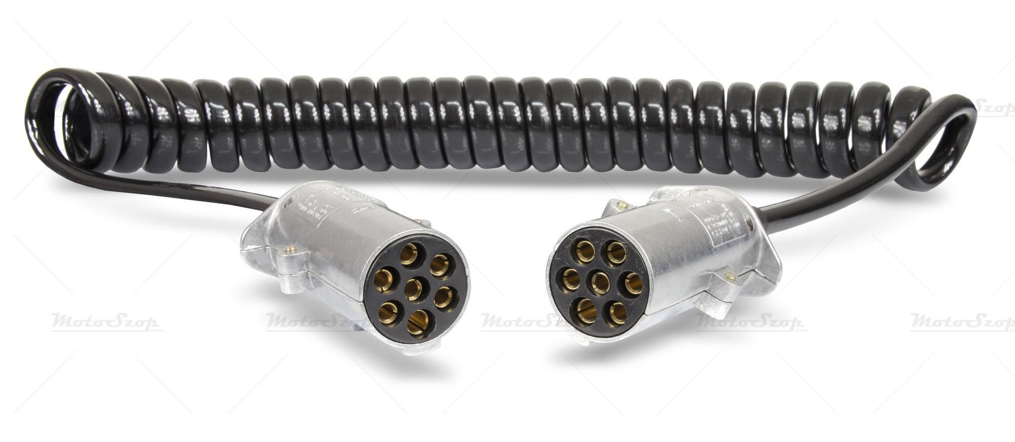 Przewód elektryczny spiralny z wtyczkami N metal